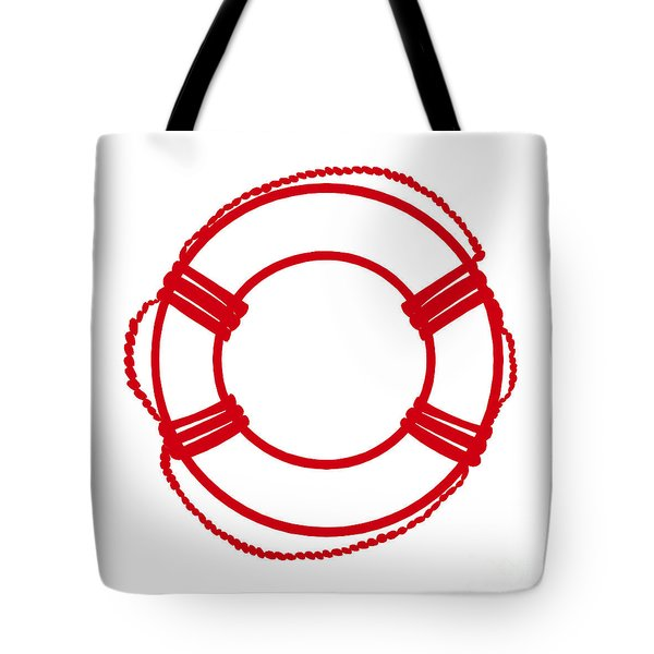 Life Preserver In Red And White Tote Bag