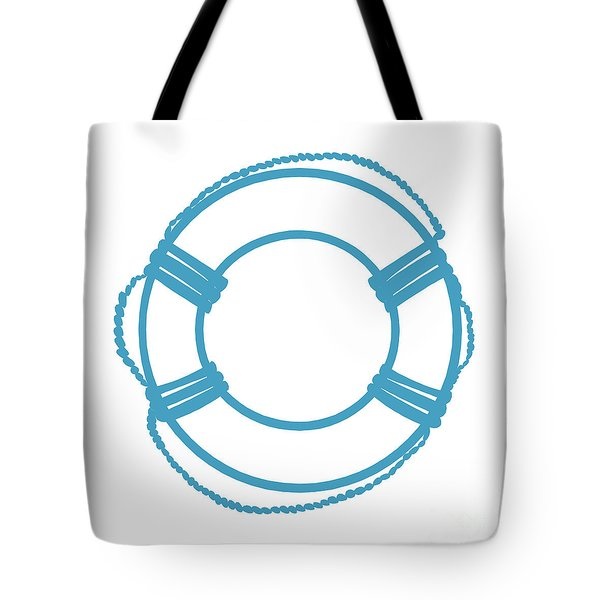 Life Preserver In Turquoise And White Tote Bag