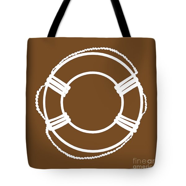 Life Preserver In White And Brown Tote Bag