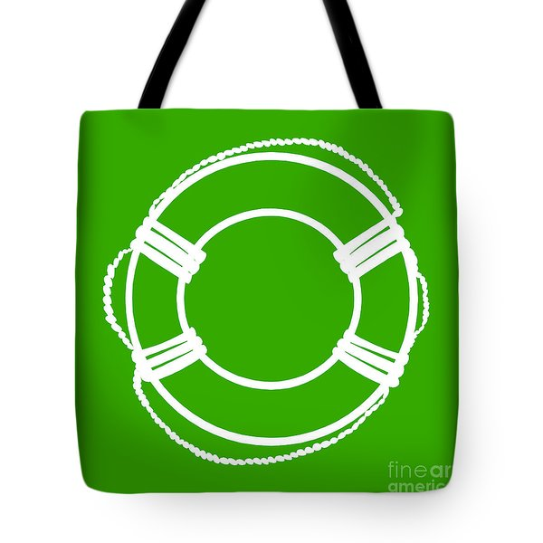 Life Preserver In White And Green Tote Bag