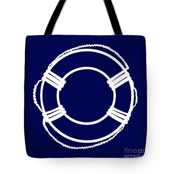 Life Preserver In White And Navy Blue Tote Bag