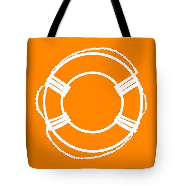Life Preserver In White And Orange Tote Bag
