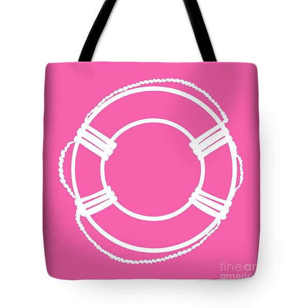 Life Preserver In White And Pink Tote Bag