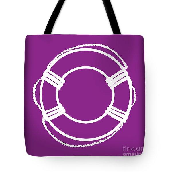 Life Preserver In White And Purple Tote Bag