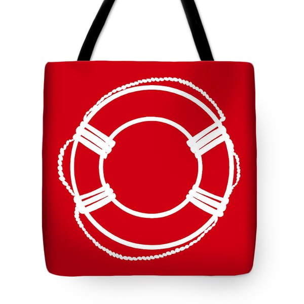 Life Preserver In White And Red Tote Bag