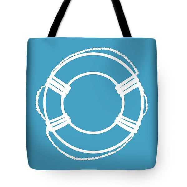 Life Preserver In White And Turquoise Blue Tote Bag
