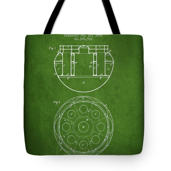 Life Saving Buoy Boat Patent From 1888 - Green Tote Bag