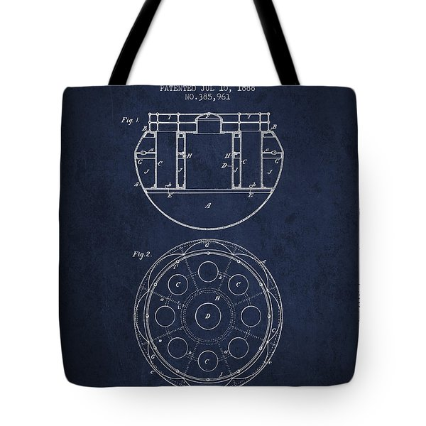 Life Saving Buoy Boat Patent From 1888 - Navy Blue Tote Bag
