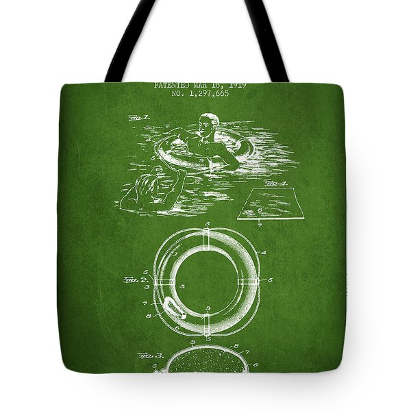 Lifebuoy Patent From 1919 - Green Tote Bag