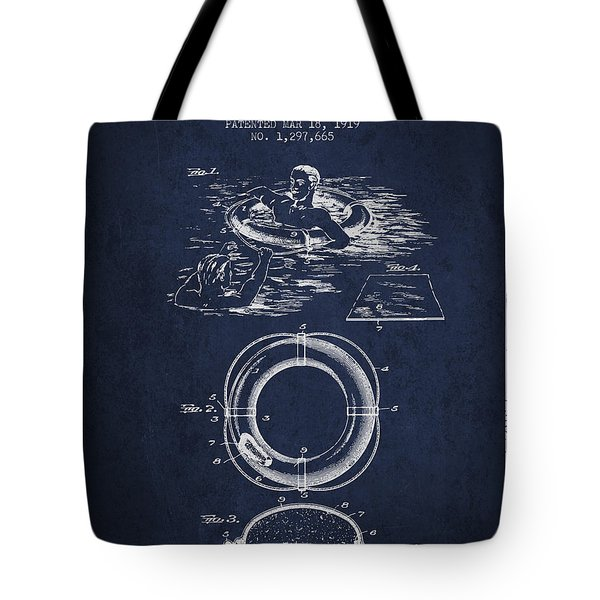Lifebuoy Patent From 1919 - Navy Blue Tote Bag