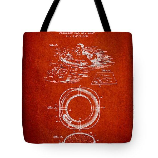 Lifebuoy Patent From 1919 - Red Tote Bag