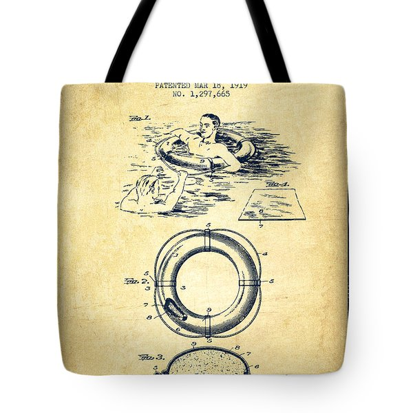 Lifebuoy Patent From 1919 - Vintage Tote Bag
