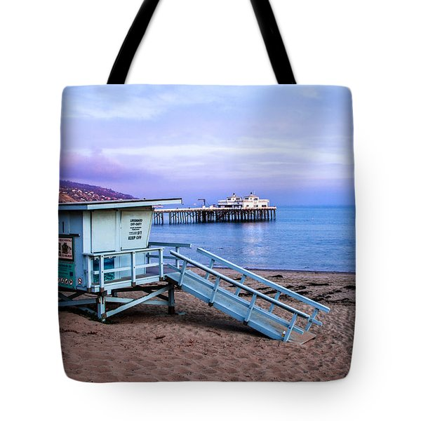 Lifeguard Tower And Malibu Beach Pier Seascape Fine Art Photograph Print Tote Bag by Jerry Cowart