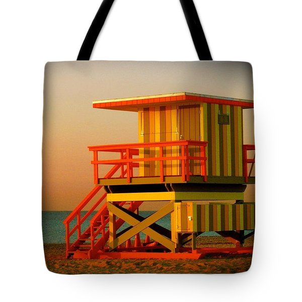 Lifeguard Tower In Miami Beach Tote Bag by Monique Wegmueller