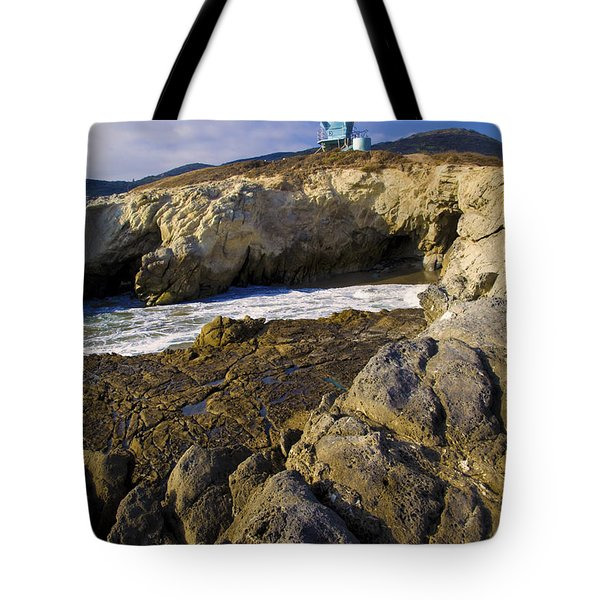 Lifeguard Tower On The Edge Of A Cliff Tote Bag by David Millenheft
