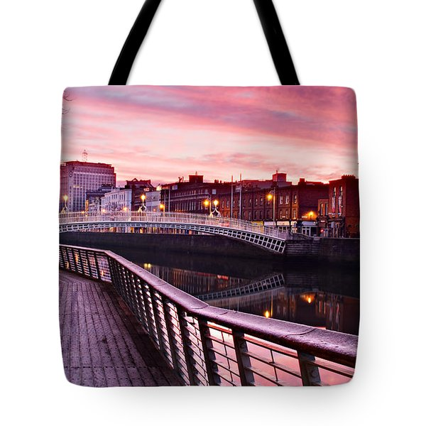 Liffey Boardwalk At Dawn - Dublin Tote Bag