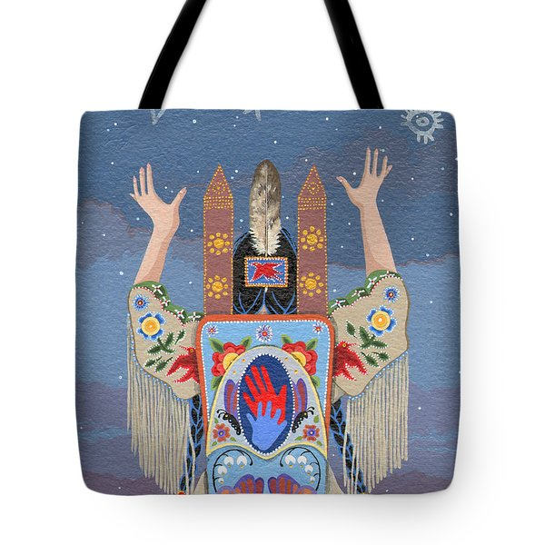 Tote Bag featuring the painting Lift Your Hands by Chholing Taha