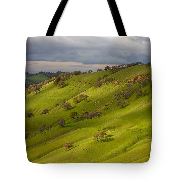 Light And Shadows On A Green Hillside Tote Bag