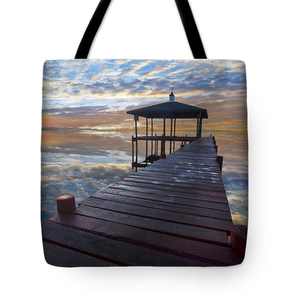 Light At The Lake Tote Bag by Debra and Dave Vanderlaan
