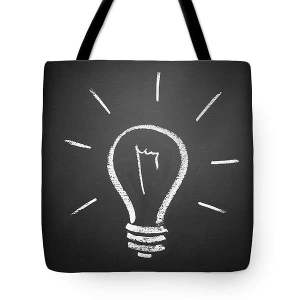 Light Bulb On A Chalkboard Tote Bag