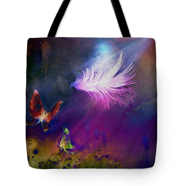 Tote Bag featuring the painting Light Feather by Lilia D