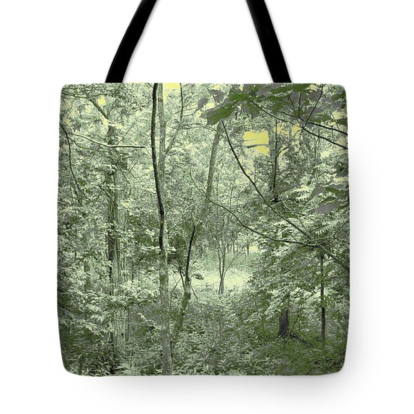 Light Forest Scene Tote Bag