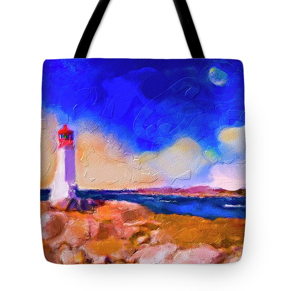 Tote Bag featuring the painting Light House At Peggys Cove by Ted Azriel