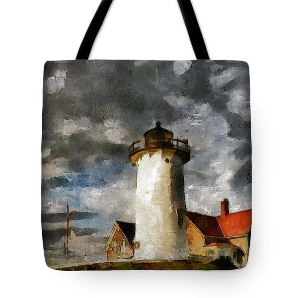 Light House In A Storm Tote Bag