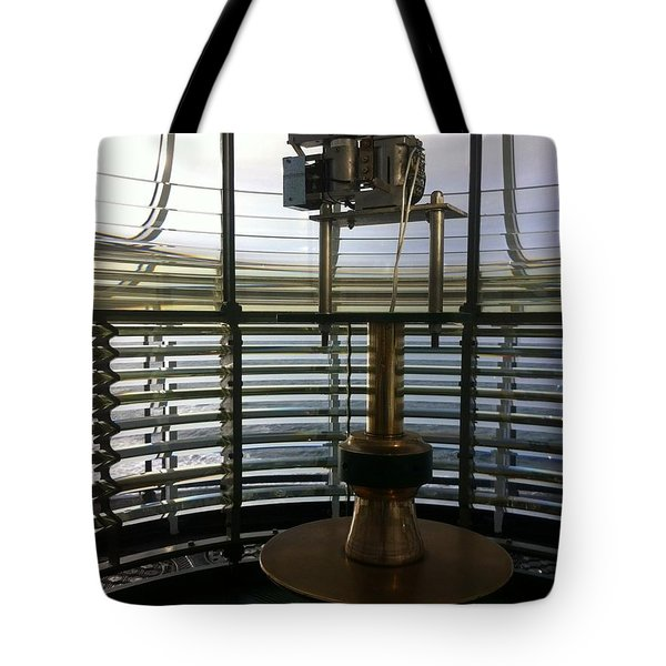 Tote Bag featuring the photograph Light House Lamp by Susan Garren