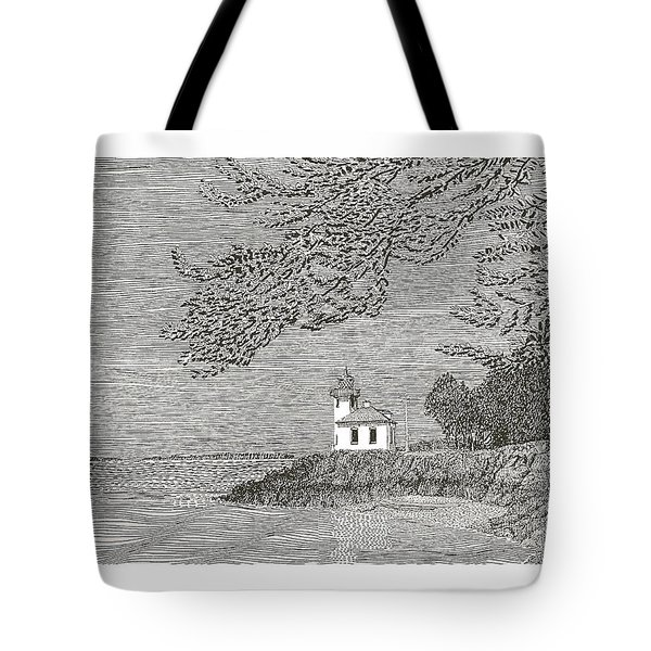 Light House On San Juan Island Lime Point Lighthouse Tote Bag by Jack Pumphrey