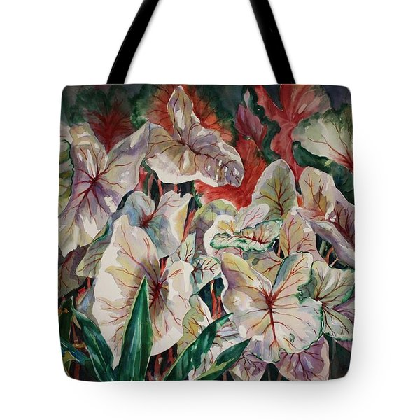 Light Play Caladiums Tote Bag