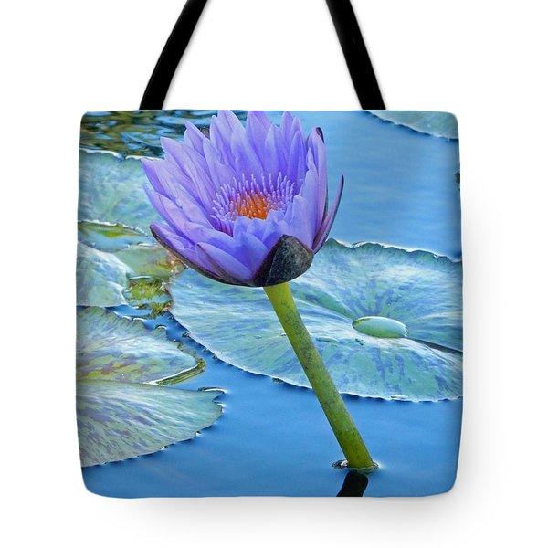 Light Purple Water Lily Tote Bag by Pamela Walton