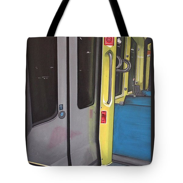 Tote Bag featuring the painting Light Rail by Jude Labuszewski