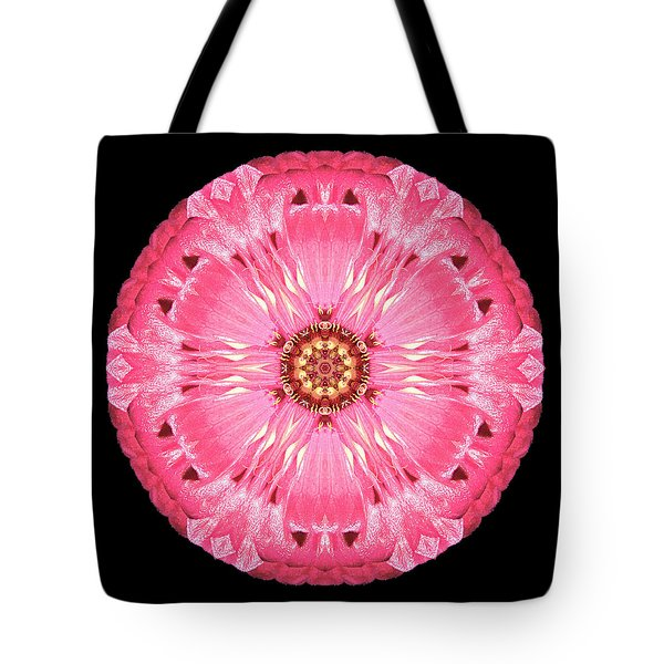 Tote Bag featuring the photograph Light Red Zinnia Elegans Flower Mandala by David J Bookbinder