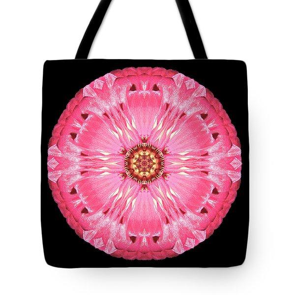 Light Red Zinnia Elegans Flower Mandala Tote Bag