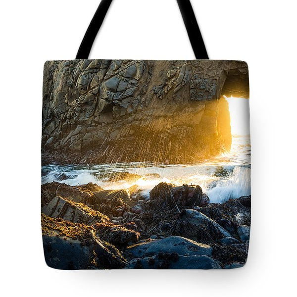 Light The Way - Arch Rock In Pfeiffer Beach In Big Sur. Tote Bag by Jamie Pham