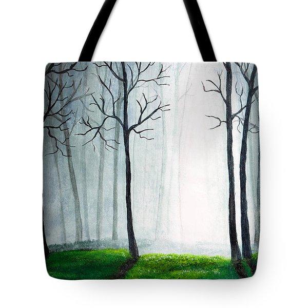 Light Through The Forest Tote Bag by Nirdesha Munasinghe