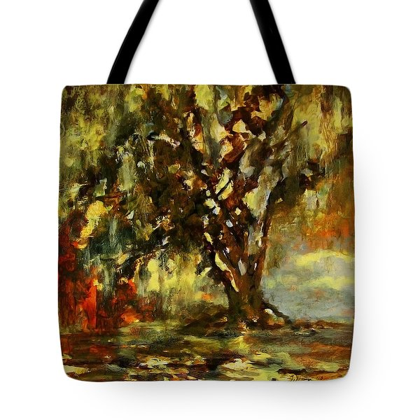 Light Through The Moss Tree Landscape Painting Tote Bag
