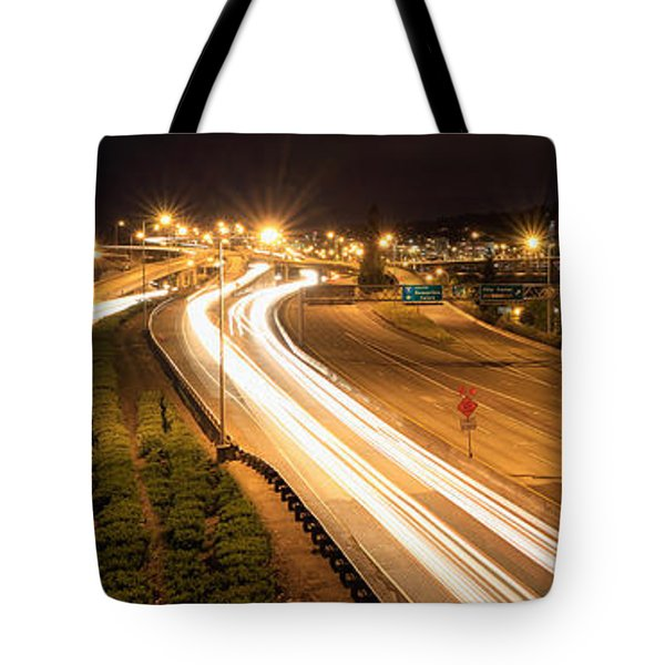 Light Trails And Portland City Skyline At Night Tote Bag