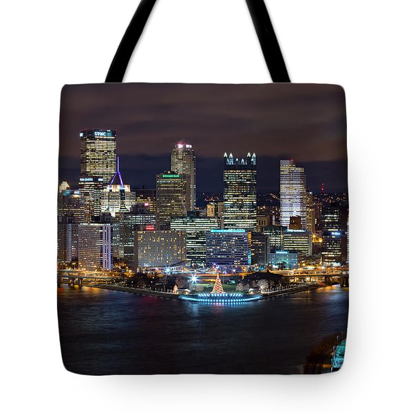 Light Up Night Pittsburgh 3 Tote Bag by Emmanuel Panagiotakis