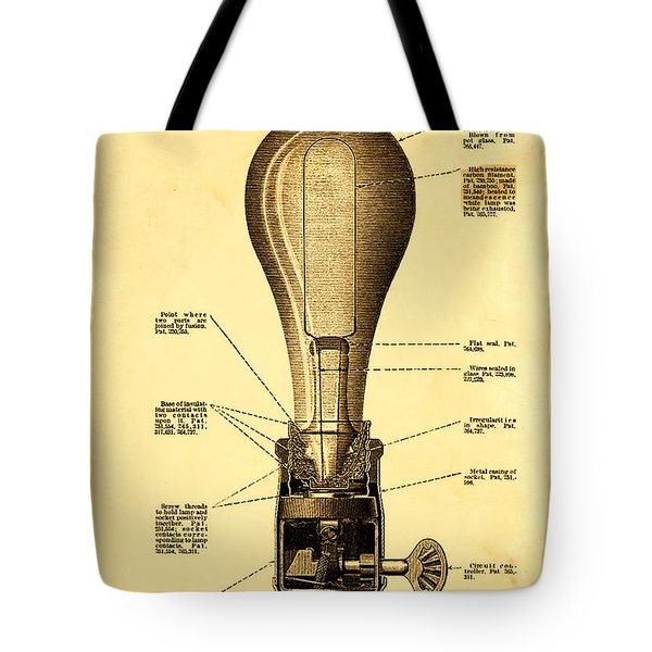 Lightbulb Patent Tote Bag by Bill Cannon