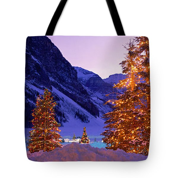 Lighted Christmas Trees, Chateau Lake Tote Bag