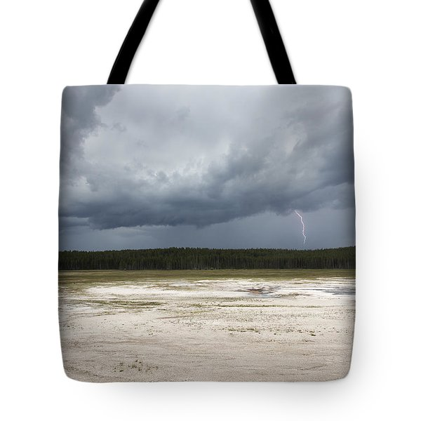 Tote Bag featuring the photograph Lightening At Yellowstone by Belinda Greb
