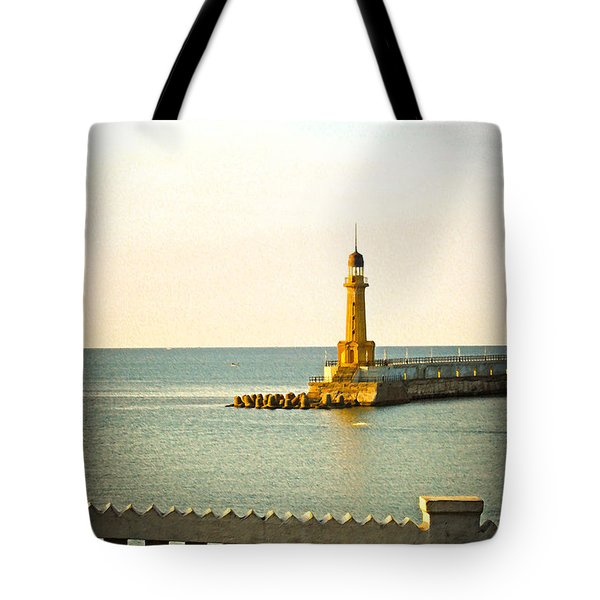 Lighthouse - Alexandria Egypt Tote Bag by Mary Machare