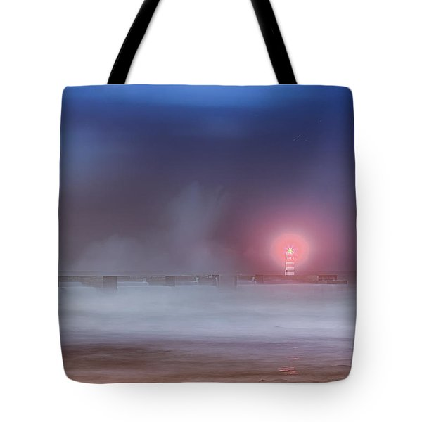 Lighthouse And Big Waves Tote Bag