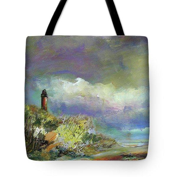 Lighthouse And Fisherman Tote Bag