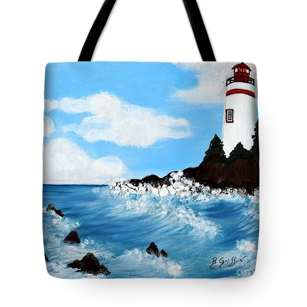 Lighthouse And Sunkers Tote Bag by Barbara Griffin