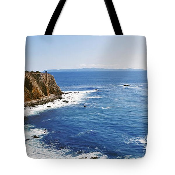 Lighthouse At A Coast, Point Vicente Tote Bag by Panoramic Images