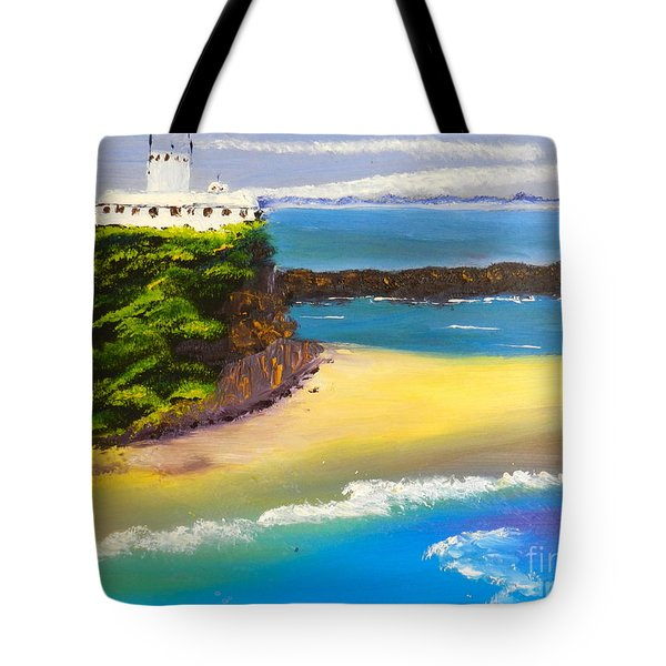 Tote Bag featuring the painting Lighthouse At Nobbys Beach Newcastle Australia by Pamela  Meredith