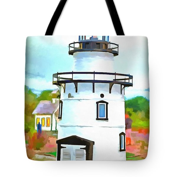 Lighthouse At Old Saybrook Point Tote Bag